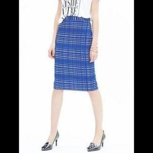 Banana Republic Blue Plaid Pencil Skirt